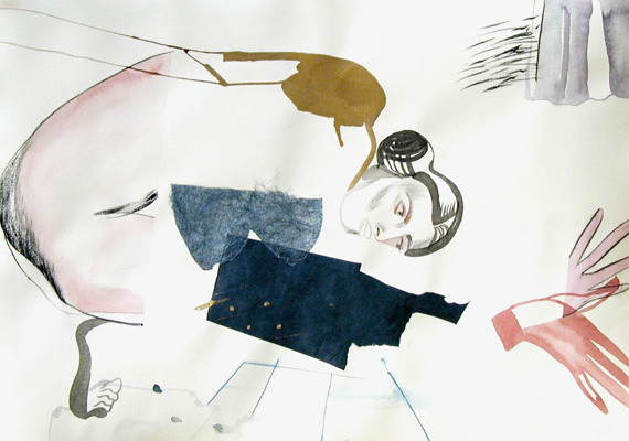 2008, Acrylic, Ink, Collage, Graphite on paper, 78 x 106 cm